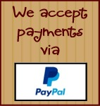 We accept Credit Cards PayPal